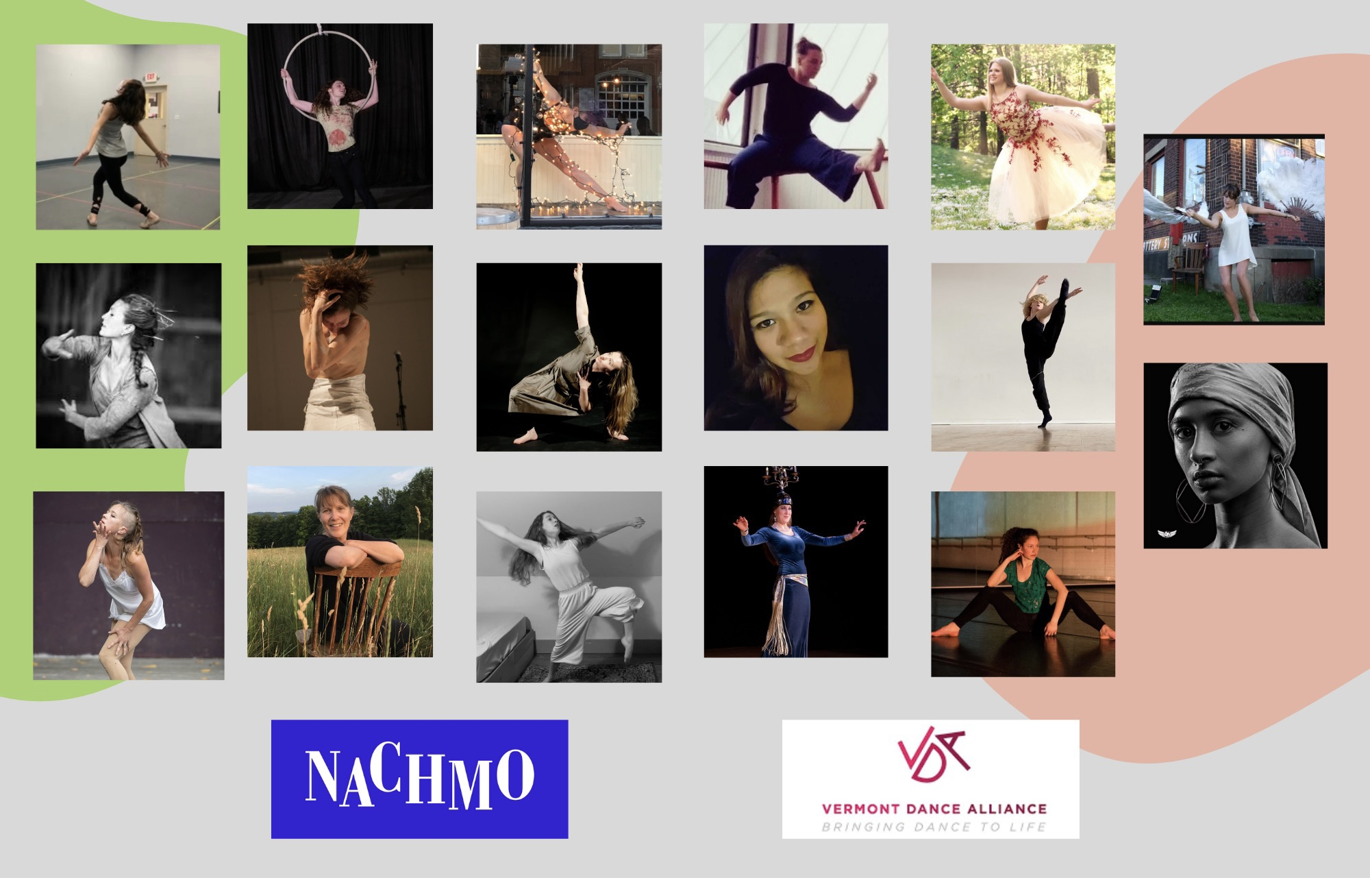 Grid graphic of 17 Vermont choreographers in different dance positions. NACHMO and VERMONT DANCE ALLIANCE logos at the bottom.